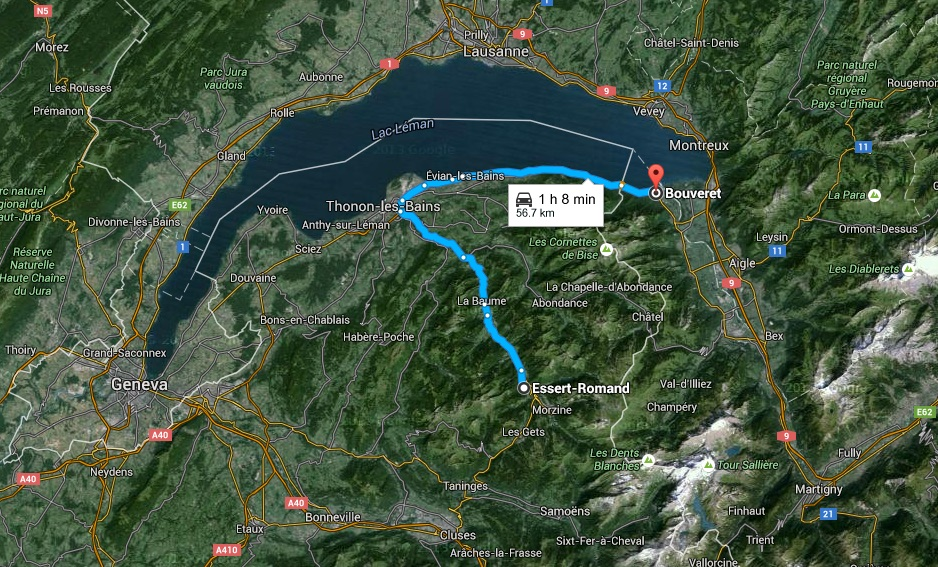 Essert Romand, France to Bouveret, Switzerland (Google Maps)