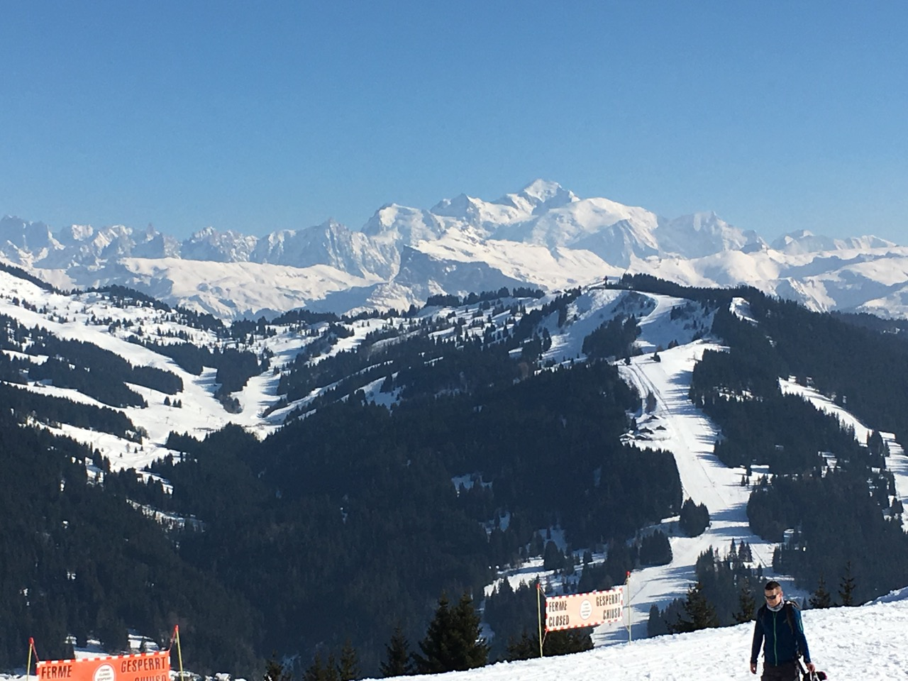 The breathtaking view of the Ranfolly bowl and the Mont Blanc Massif from Le Belvédère, Les Gets.