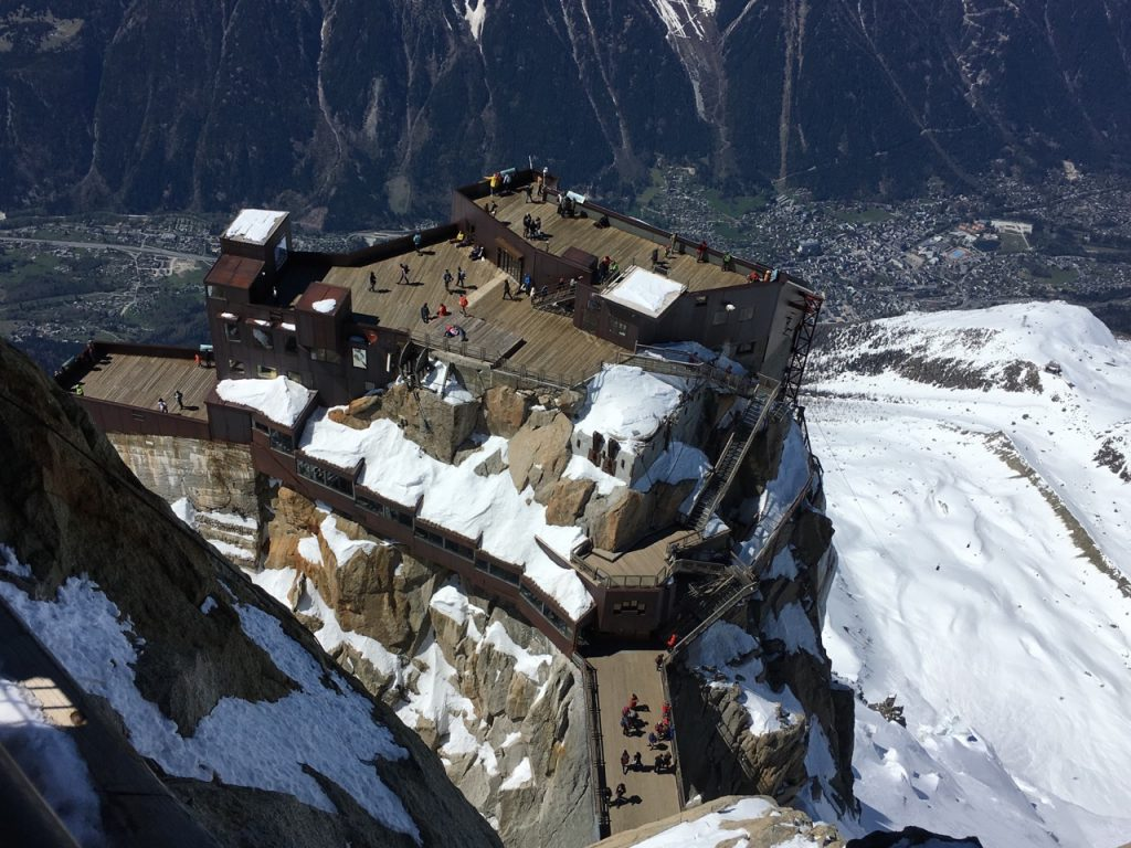 View over terraces, footbridge and North Tower (Piton Nord) of the Aiguille du Midi