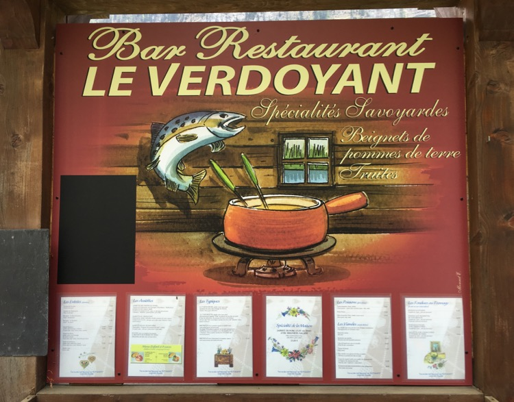 Le Verdoyant signboard and menu