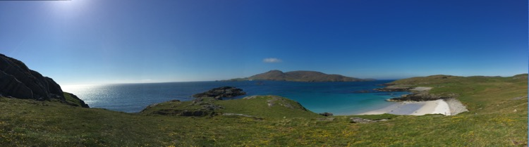 South Beach on Vatersay with the Isle of Sandray beyond.