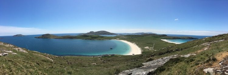 Vatersay beaches from half way up Heiseabhal Beag