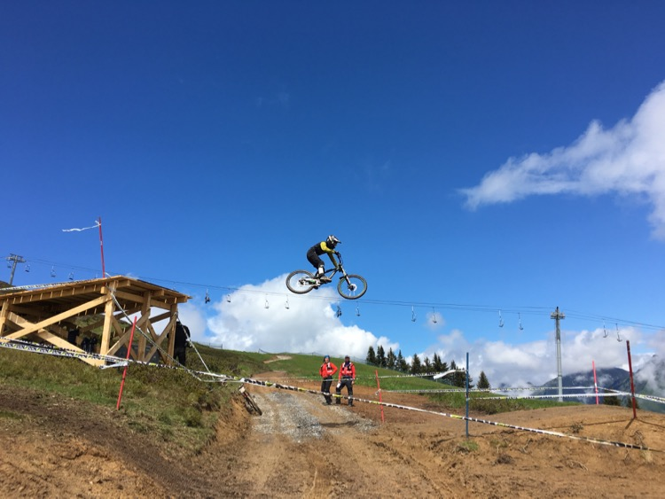 Not sure who this was but they're sending over the top Crankworx 2016 downhill road gap.
