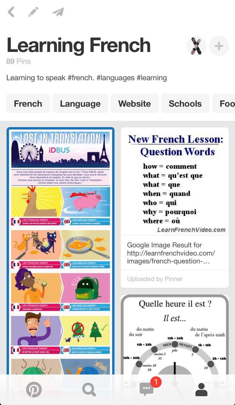 Up-Stix Learn French Pinterest Page