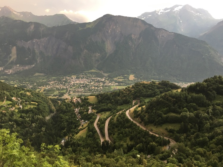 Looking back down the road to L'Aple d'Huez.
