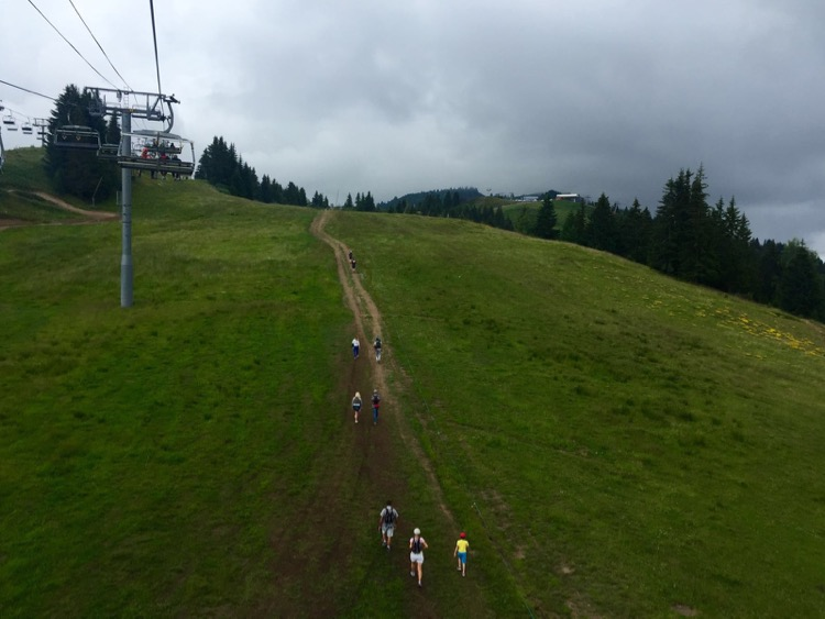 People below the Chavannes chairlift walking up to watch the Tour de France 2016 at the Col du Ranfolly.