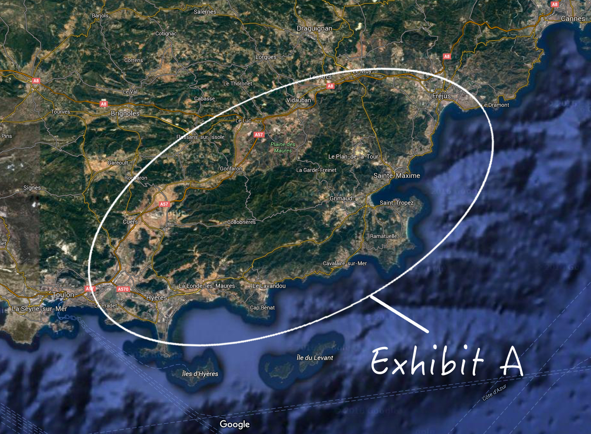 This was our target area for some quieter coastline, in particular the beaches of Cap Benat beyond St Tropez.