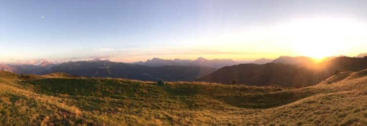 Not too shabby for a campsite. Mont Blanc on the left, sunset over Praz de Luiz on the right. Tent in the middle!