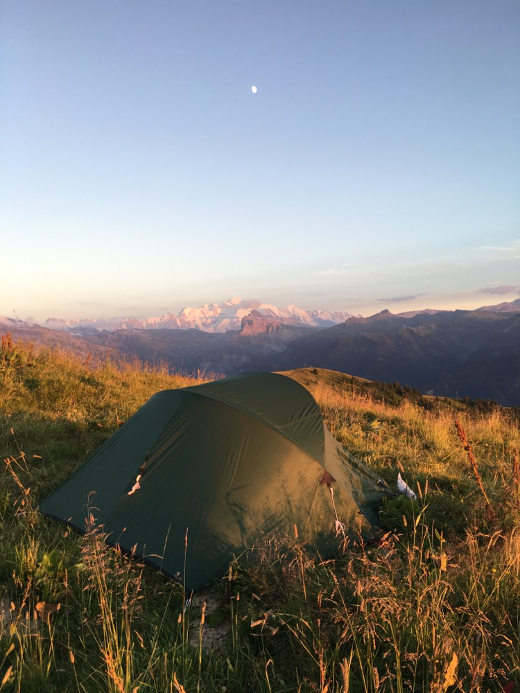 Tent pitched with ringside seats of Mont Blanc for a sunset, meteors and a sunrise!