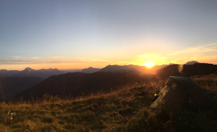 Sun setting over Praz de Lys from Pointe de Chamossière.