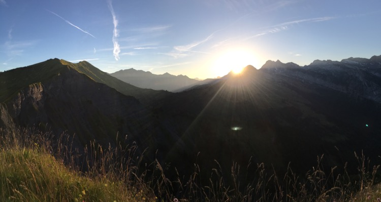 Sunrise over the Dents du Midi from the Pointe de Chamossière