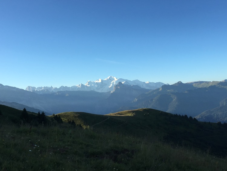 Mont Blanc in the morning light from Pointe de Chamossière.