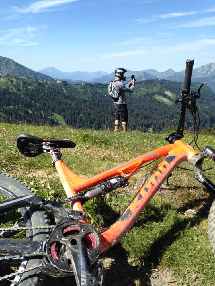 A photo of me taking a photo. Photo opps galore on a tour of the Portes du Soleil. New chain device in the foreground worked a treat!
