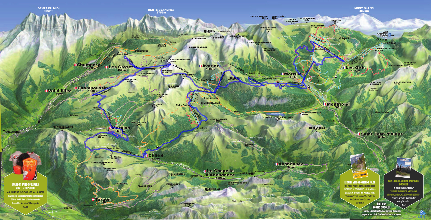 Our tour of the Portes du Soleil marked in blue.