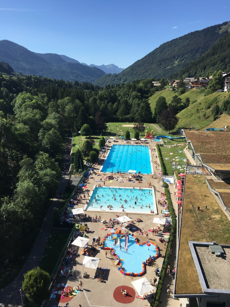 The Parc des Dérêches, Morzine as seen from the suspension footbridge.