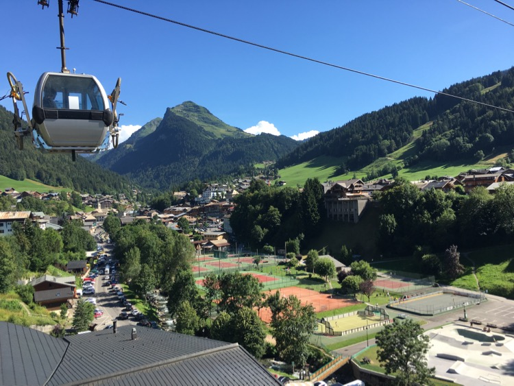 Looking up over Morzine with Pointe de Nyon above from the foot suspension bridge.