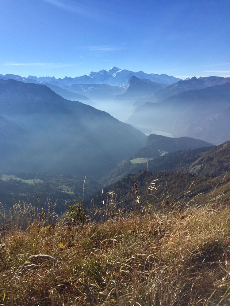 Mont Blanc with Samoens in the valley below.