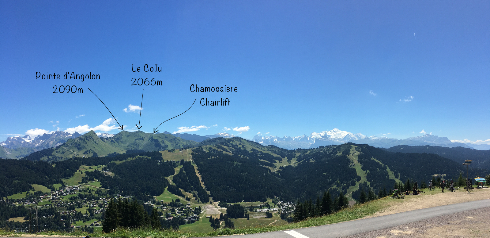 View over to Pointe d'Angolon and the Chamossiere lift from the Bellevedere restaurant on Mont Chery, Les Gets.