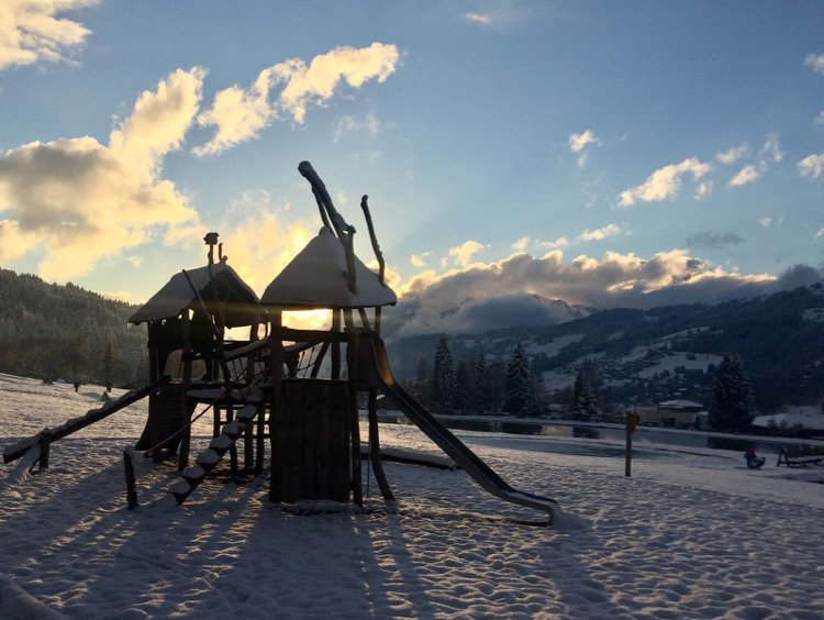 The playground at the Lac des Ecoles, Les gets - a perfect place for the kids to let off steam while you grab a drink & watch the sunset.