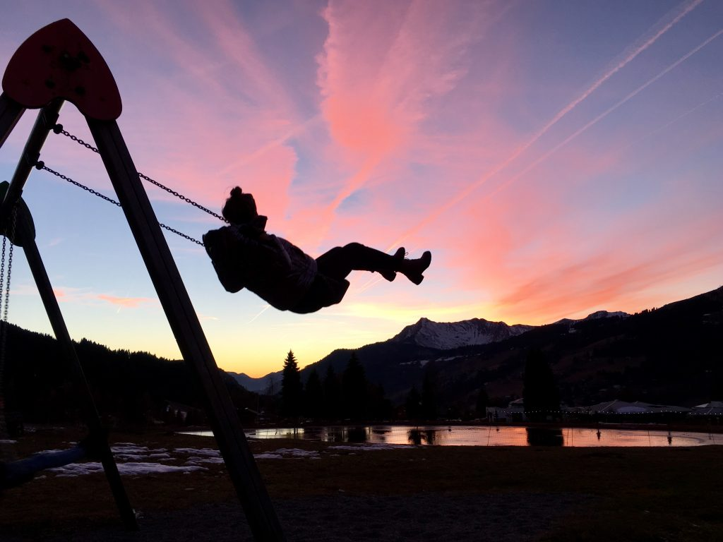 Swinging in the sunset at Lac D'ecole.