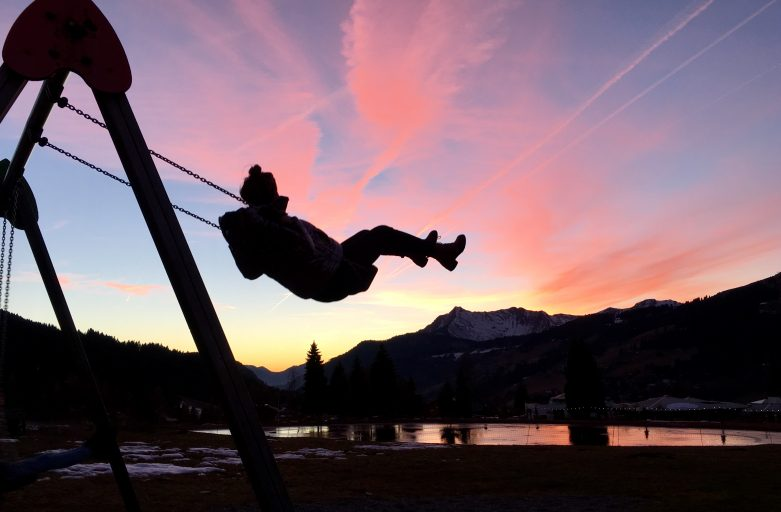 Swings, slides, a climbing wall and some new exercise equipment - all within sight of the Restaurant du Lac, Les Gets.