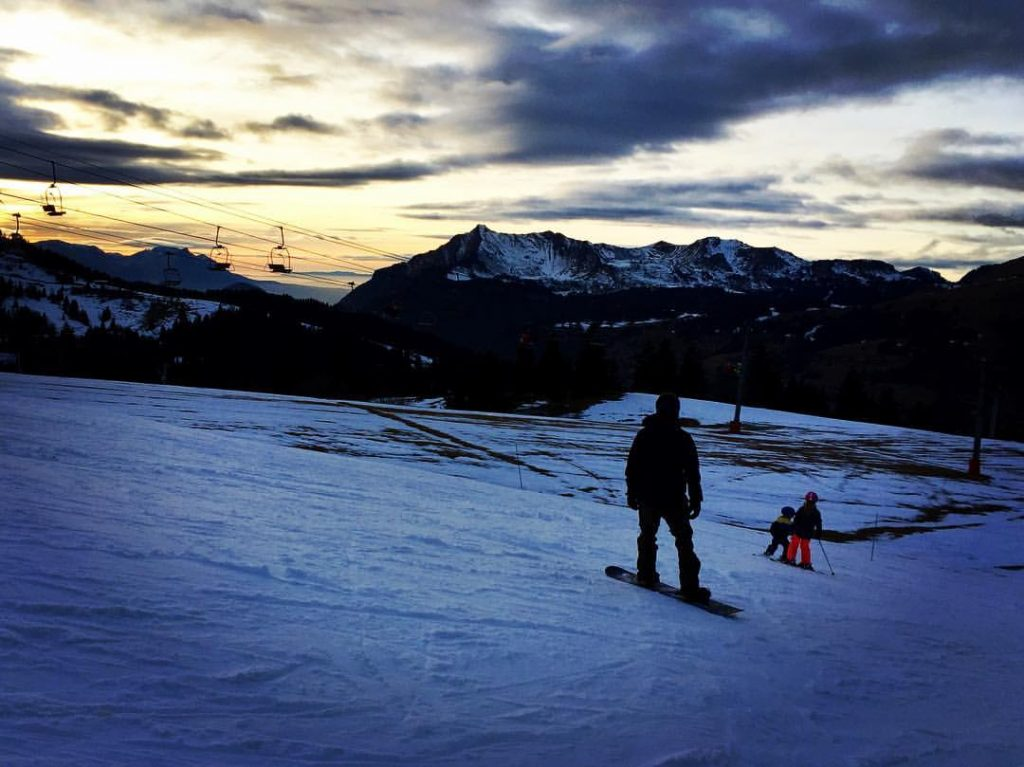 Sunset on the slopes of Les Gets, Christmas Day 2016.