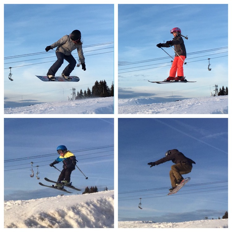 Celebrating a year in Les Gets with family airtime in the Chapelle Snowpark.