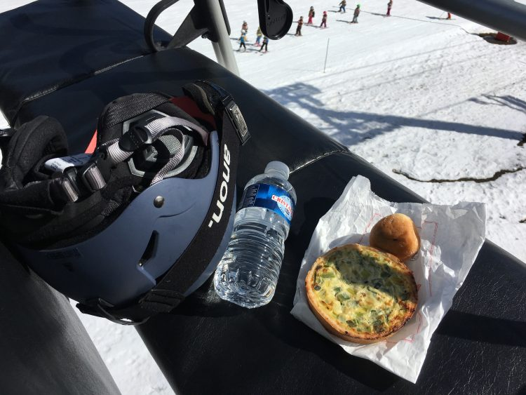 Chairlift picnic for one. Leek quiche and a Nutella filled donut. Mmmmmm!