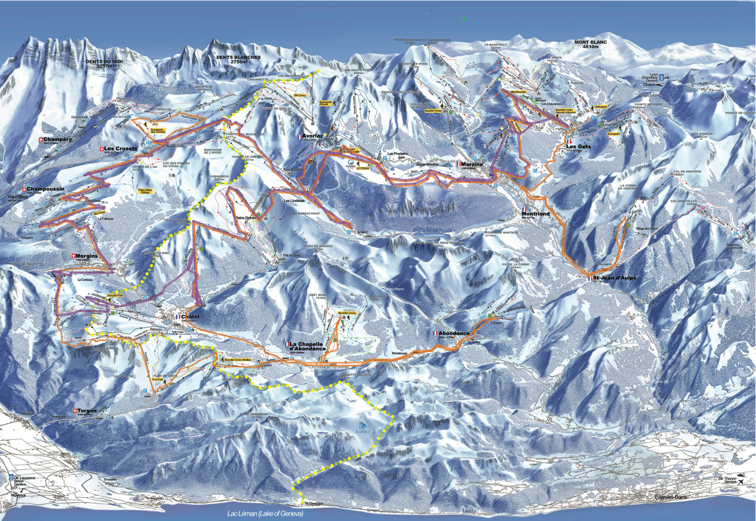Up Stix Tour of the Portes du Soleil - Our planned route in orange and our actual route in purple.