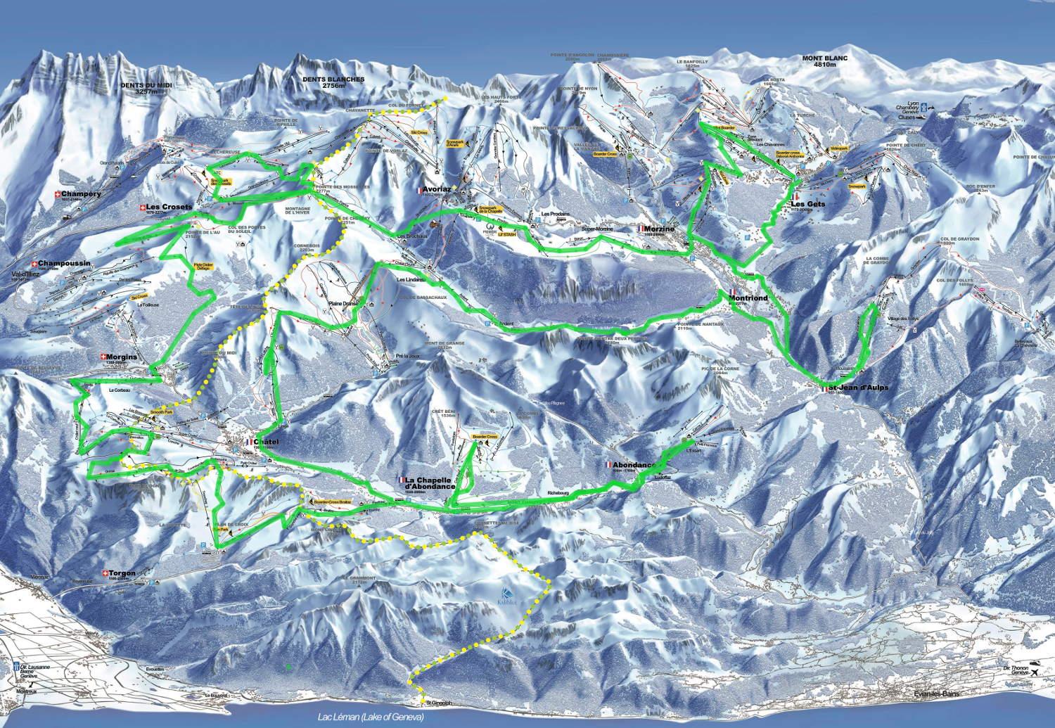 I reckon there's a chance (although the stars will have to align) and this is the plan for next time we attempt the tour of the Portes du Soleil. Source: http://en.portesdusoleil.com/winter/ski-map.html