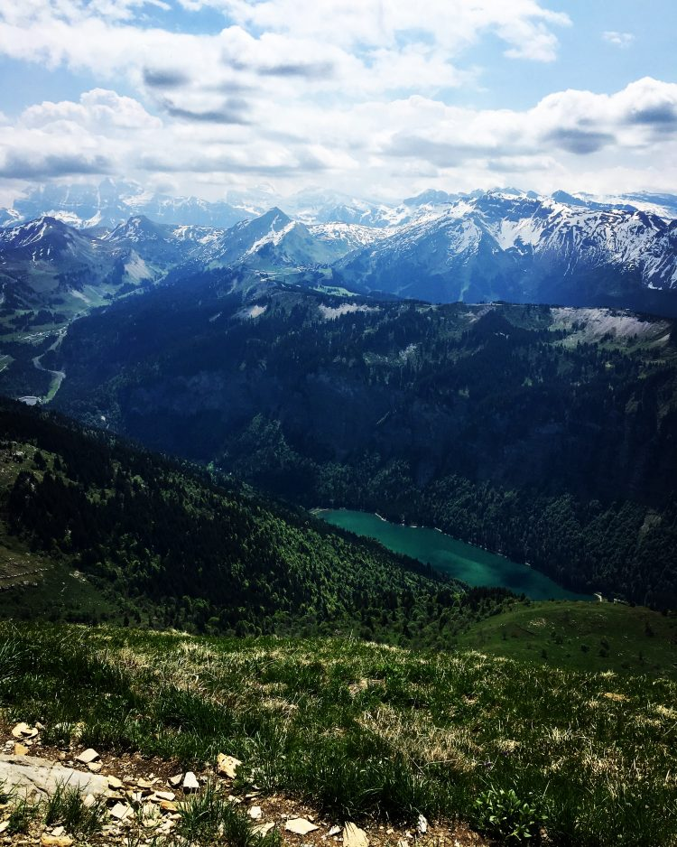 Views to the Dents du Midi, the Dents Blanches and down to the Lake in Montriond.