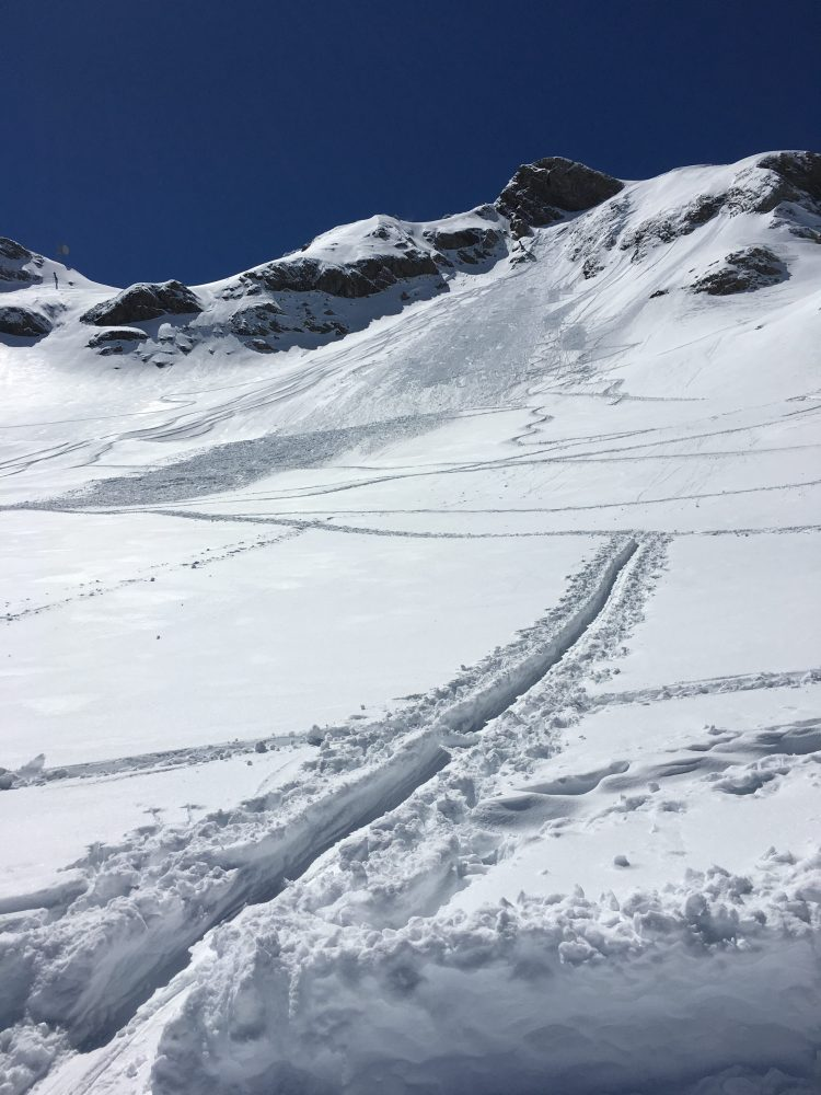 Tracks and avalanche debris on Les Hauts Forts, Avoriaz.
