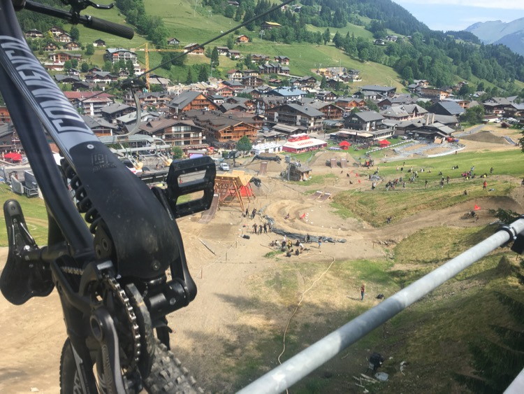 A bird's eye view of the Dual Speed and Style training on the first day of Crankworx Les Gets 2017.