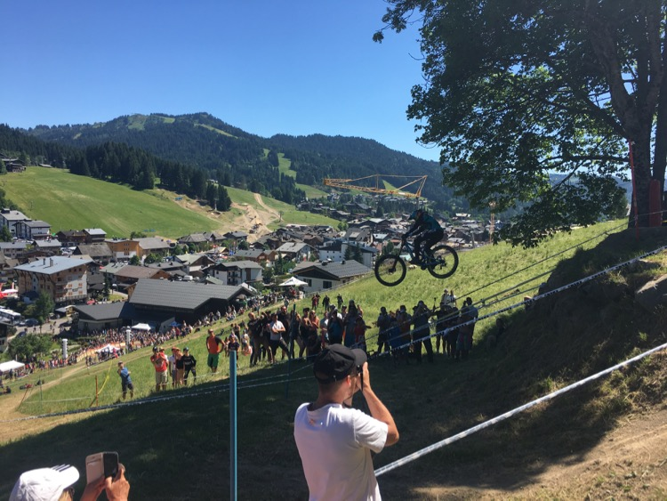 Watching the women come through the final step-down gap on the Crankworks Les Gets 2017 Downhill Final.