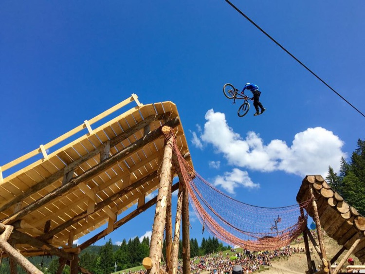 Nicoli Rogatkin tail whipping on the step-up to the whale tail. Crankworx Les Gets 2017, Slopestyle finals.