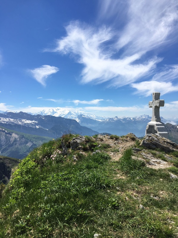 Looking towards Mont Blanc from the summit of Pointe De Ressachaux.
