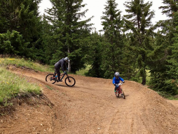 Family bike ride from Super Morzine on a muddy weekend in July 2017