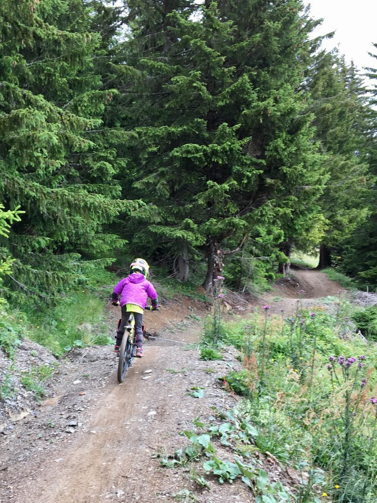 Iz taking on the mountain bike trails above Super Morzine.