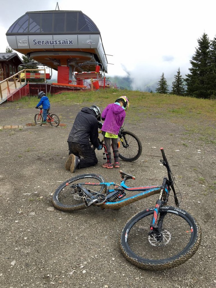 Trailside repairs at the top of the Seraussaix lift.