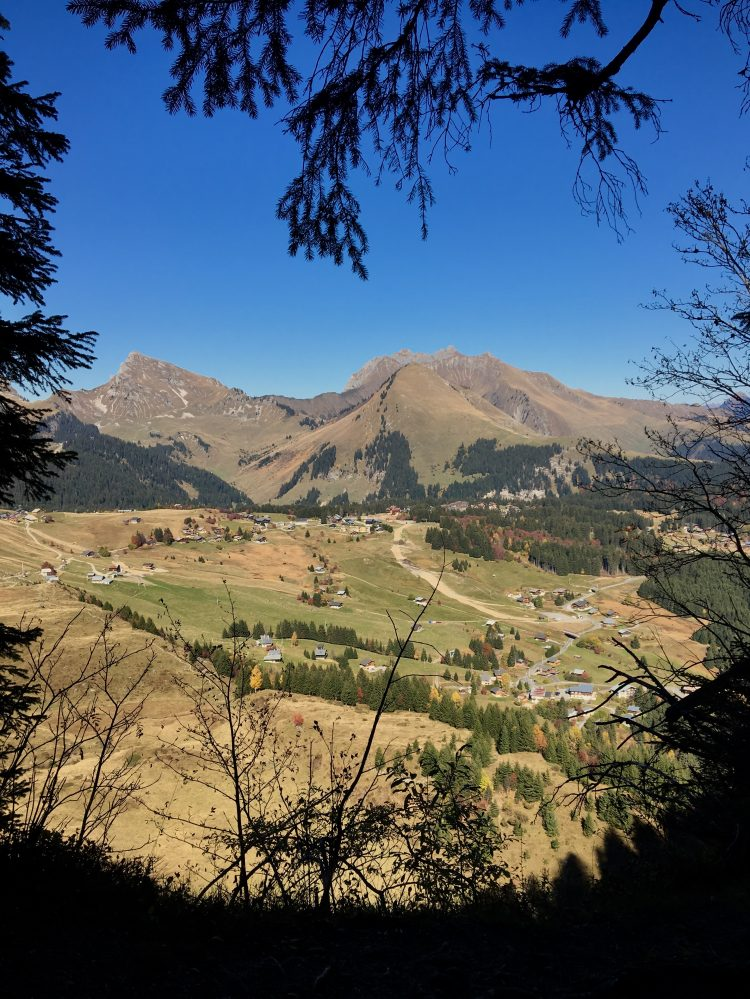 Spectacular views over Praz de Lys and beyond on the way back down from the Pic Du Marcelly