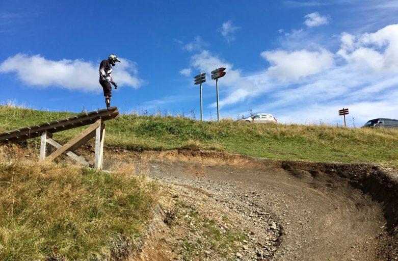 J scoping out a jump on 'Piste Noir' in Bike Park Les Gets