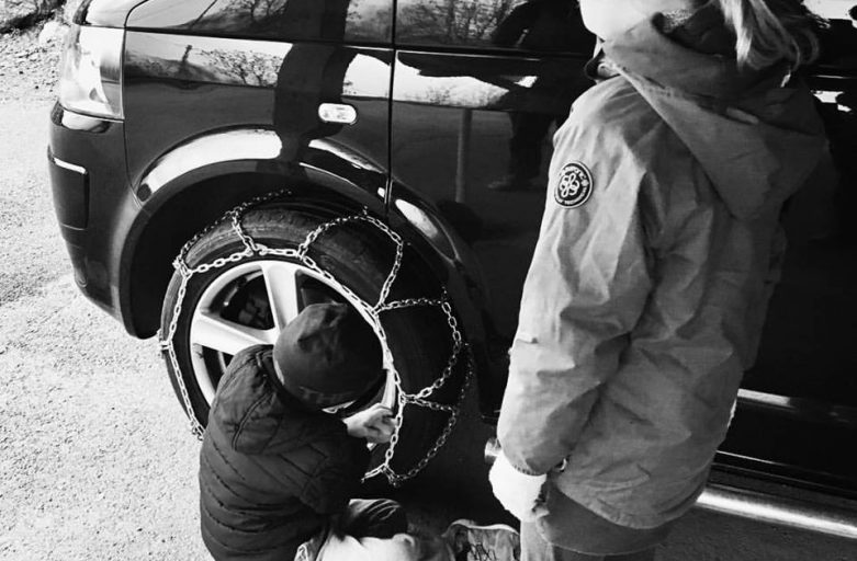 In our book it's never to early to learn how to put snow chains on!
