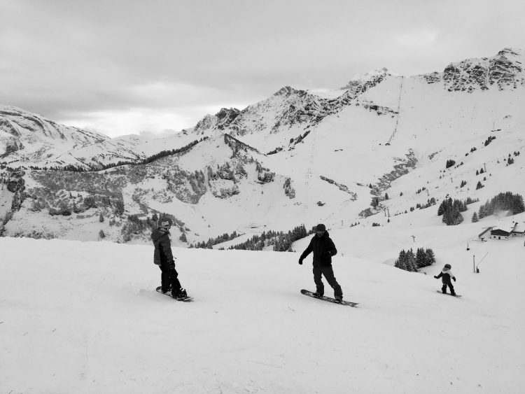 James and the kids on our first family snowboarding session of the season.