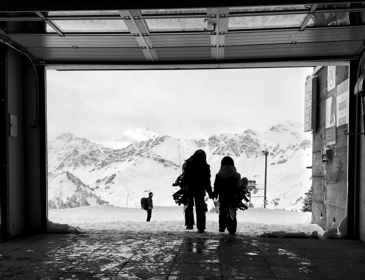 Never too young to go snowboarding! Iz (9) and T (6) ready to shred in Champéry.