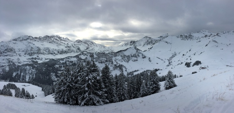 View from the top of the Crosets chairlift. 'Dents Blanches' on the left and the 'Swiss Wall' on the right.