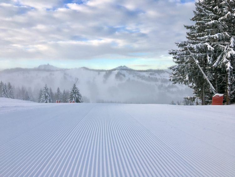 Les Gets snow update - Look - it's a beautifully pisted run. December 19th 2017.
