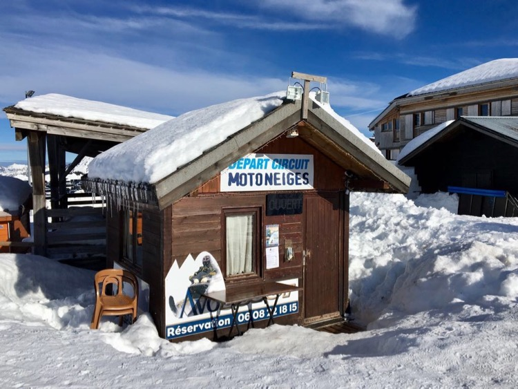 'Motoneige' aka 'snowmobile' welcome hut in Avoriaz.