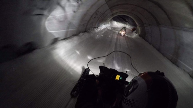 Snowmobiling through the tunnels in Avoriaz