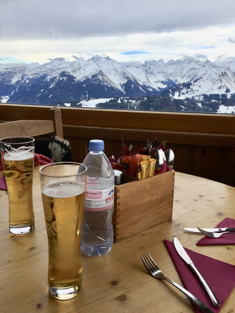 Refreshments with a view at La Grande Ourse, Les Gets.