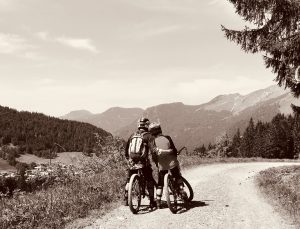 James & Nina taking in the scenery on our first family ride of the summer 2018 in Les Gets.